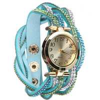 Women Vintage Ethnic Style Crystal PU Leather Quartz Bracelet Watch