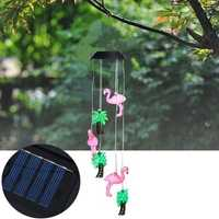 Solar Powered 6LEDs Color Changing Animals Bird Wind Chimes Fairy String Light for Christmas Garden