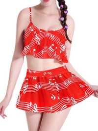 Women Comfort Multi Pattern Printed Tankinis Elastic Soft Swimsuit Sets
