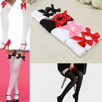 Women Gril Satin Bowknot Stocking Sexy Lovely Over Knee Thigh High Velvet Socks Hosiery