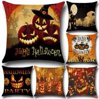 45x45cm 6 Pattern Halloween Pumpkin Fashion Cotton Linen Pillow Case Home Sofa Cushion Decor Gift
