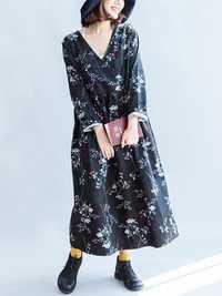 Women Vintage High Waist Long Maxi Dress