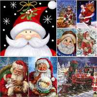 Full Drill Santa Claus DIY 5D Diamond Paintings Cross Stitch Kits Home Decorations
