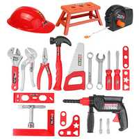 31Pcs Children Drill Tool Set Role Play Builders Building Construction Toy Repair Tool Kits