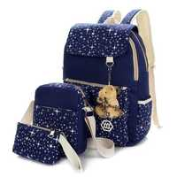 3Pcs Casual Women Canvas Backpack School Bags Star Print Crossbody Bags Clutch Bags