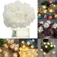 Battery Powered 1M 9LEDs Warm White Indoor Bedroom Decor Wedding Rose Flower Fairy String Light
