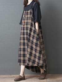 Women Vintage Plaid Straps Pockets High Low Hem Dress