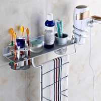 KCASA BR-32 Bathroom 4 in 1 Wall Mount Towel Rack Hanging Storage Shelves with Hair Dryer Holder and Toothbrush Shelves