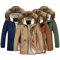 Mens Lamb Wool Coat Winter Casual Hooded Thick Mid Long Down Cotton Jacket 5 Colors
