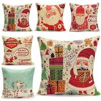 45X45cm Christmas Santa Claus Snowmen Gift Fashion Cotton Linen Pillow Case Home Decor