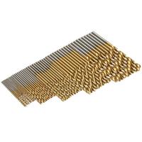 Doersupp 50Pcs Titanium Coated Twist Drill Bit Set 1/1.5/2/2.5/3mm HSS Wood Metal Drilling Tool