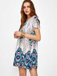 OEUVRE Women Short Sleeve O-Neck Floral Printed Boho Mini Tunic Dress
