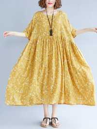 Loose Cotton Linen Elastic Waist A-line Maxi Dress