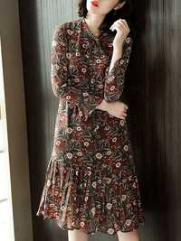 Floral Printed Tie Neck Dress