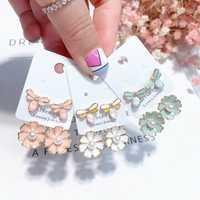 925 Sterling Silver Ear Drop Dragonfly Flower Pearl Earring