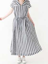 Retro Striped V Neck Belt Short Sleeve Shirt Dress