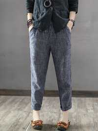 Women Striped High Elastic Waist Long Harem Pants
