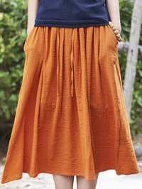 Women Casual Solid Color Cotton Linen Skirts