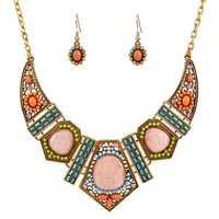 Bohemian Rhinestone Bib Necklace Multicolor Flower Earrings