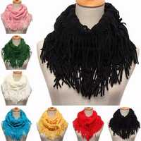 Women Ladies Two Circle Tassel Cable Knit Cowl Neck Scarves Shawl