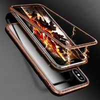 Luphie Wood Pattern Magnetic Adsorption Metal Tempered Glass Protective Case For iPhone X