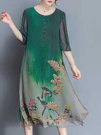 Chinese Style Floral Print Half Sleeve Loose Dress