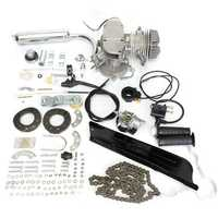 50cc 2-Stroke Cycle Motorized Bike Silver Body Engine Motor Bicycle Kit
