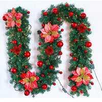2.7M Christmas Decor Ornaments Christmas Tree Garland Rattan Bows Cane Home Wall Pine Decorations