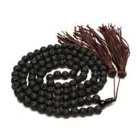 8mm Black Round Volcano Stone Beads Buddhist Necklace Unisex