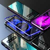 Magnetic Adsorption Aluminum Alloy Bumper Tempered Glass Back Cover Protective Case For Samsung Galaxy S10