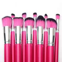 10pcs Rose Red Cosmetic Makeup Blush Powder Eye Shadow Foundation Brushes