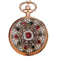 Vintage Diamond Roman Numerals Quartz Women Pocket Watch