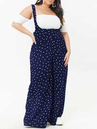 Casual Straps Polka Dot Wide Legged Pants Loose Jumpsuit