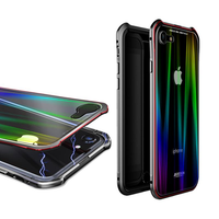 Luphie Protective Case For iPhone 8/8 Plus/7/7 Plus Gradient Magnetic Adsorption Aluminum Tempered Glass Cover