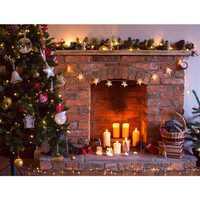 7x5FT Vinyl Retro Christmas Tree Fireplace Photography Background Backdrop Props Studio