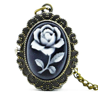 DEFFRUN Fashion Flower Rose Bronze Quartz Pocket Watch Retro Pendant Necklace
