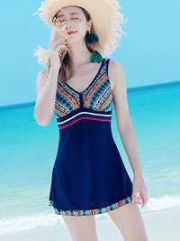 Plus Size Criss-cross Back Geometric Printing Swimdress