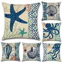 45*45cm Marine Life Pillow Case Octopus Seahorse Conch Print Cushion Cover Linen Throw Pillow