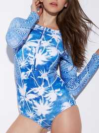 Front Zipper Printed Long Sleeve Surf Suit Spa Swimwear