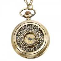 DEFFRUN Vintage Copper Pattern Bronze Quartz Pocket Watch