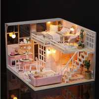 Cuteroom L025 DIY Doll House Girlish Dream Miniature Furniture With Light Music Cover Gift Decor