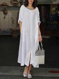 Vintage Lace Patchwork Split Hem Short Sleeve Dress