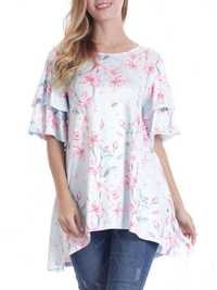 Women Floral Print Irregular Blouse