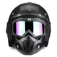 3/4 Open Chopper Motorcycle PU Leather Helmet+Face Mask with Glasses For Harley