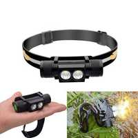 XANES D25 1650LM 2 x XPL LED 6 Modes Stepless Dimming USB Charging Interface IPX6 Waterproof Cycling Headlamp 18650