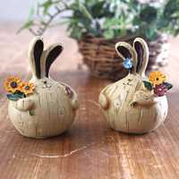 2pcs/set Creative Handmade Painted Garlic Lovely Fat Rabbit Resin Doll European Retro Home Decorations Desktop Ornaments Home Decor Handmade Resin Painted Doll Party& Festival Ornaments