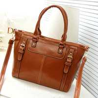 Women Vintage Pu Leather Tote Retro Handbag