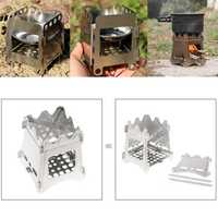 Portable Wood Folding Stove Compact Outdoor Camping Stove Picnic Hiking Cooking Hardware
