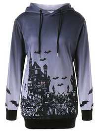 Halloween Printed Long Sleeve Drawstring Hooded Sweatshirt