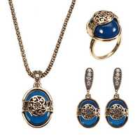 JASSY® Vintage Gold Silver Necklace Natural Blue Stone Ring Retro Earrings Gift Jewelry Set